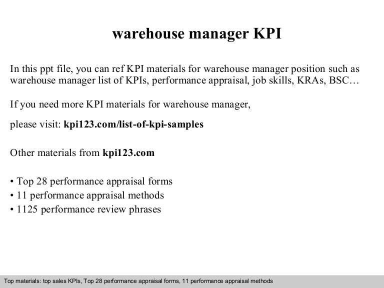 Warehouse Manager Kpi
