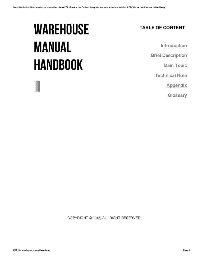 Warehouse manual handbook