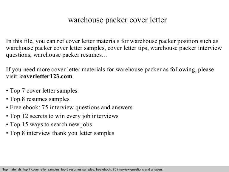 warehouse packer cover letter