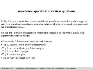 warehouse specialist interview questions - Warehouse Specialist