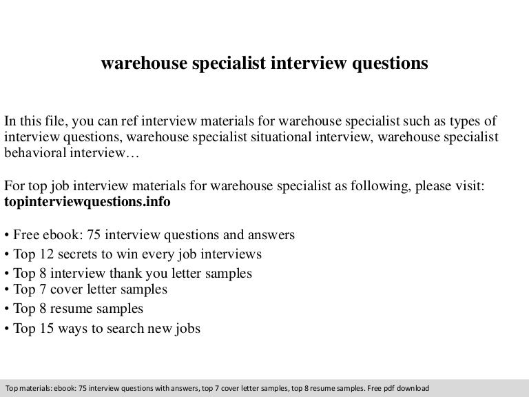warehouse specialist interview questions - Warehouse Specialist Resume