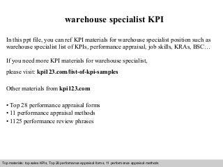 warehouse specialist kpi - Warehouse Specialist