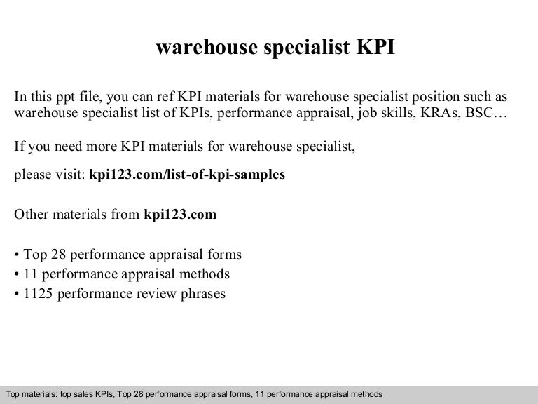 warehouse specialist kpi - Warehouse Specialist