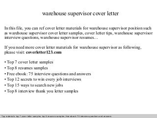 cover letter for warehouse supervisor - Kendi.charlasmotivacionales.co