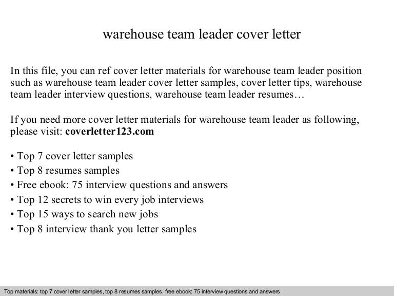 warehouse team leader cover letter - Warehouse Cover Letter Samples