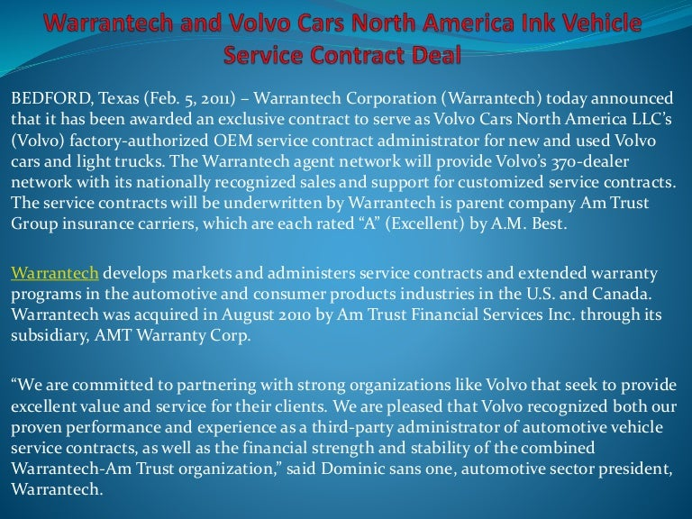 Vehicle Service Contract Portfolio Vehicle Service Contract