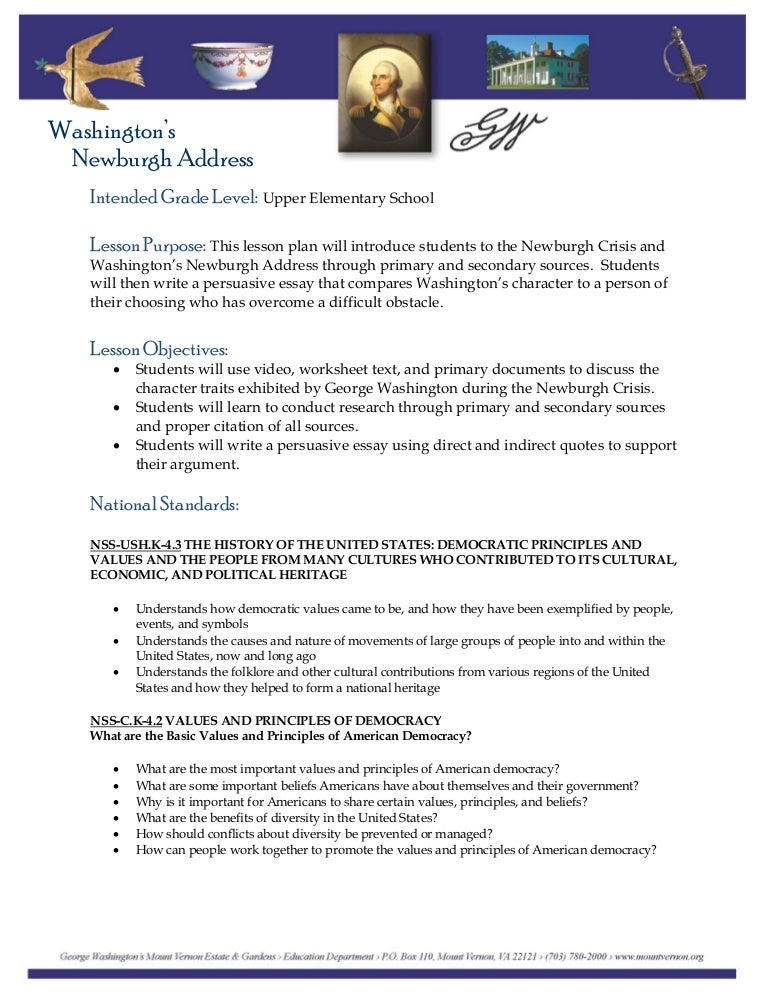 Washingtons Newburgh Address – George Washington Worksheet