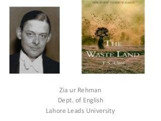 The Waste land presentation b y zia