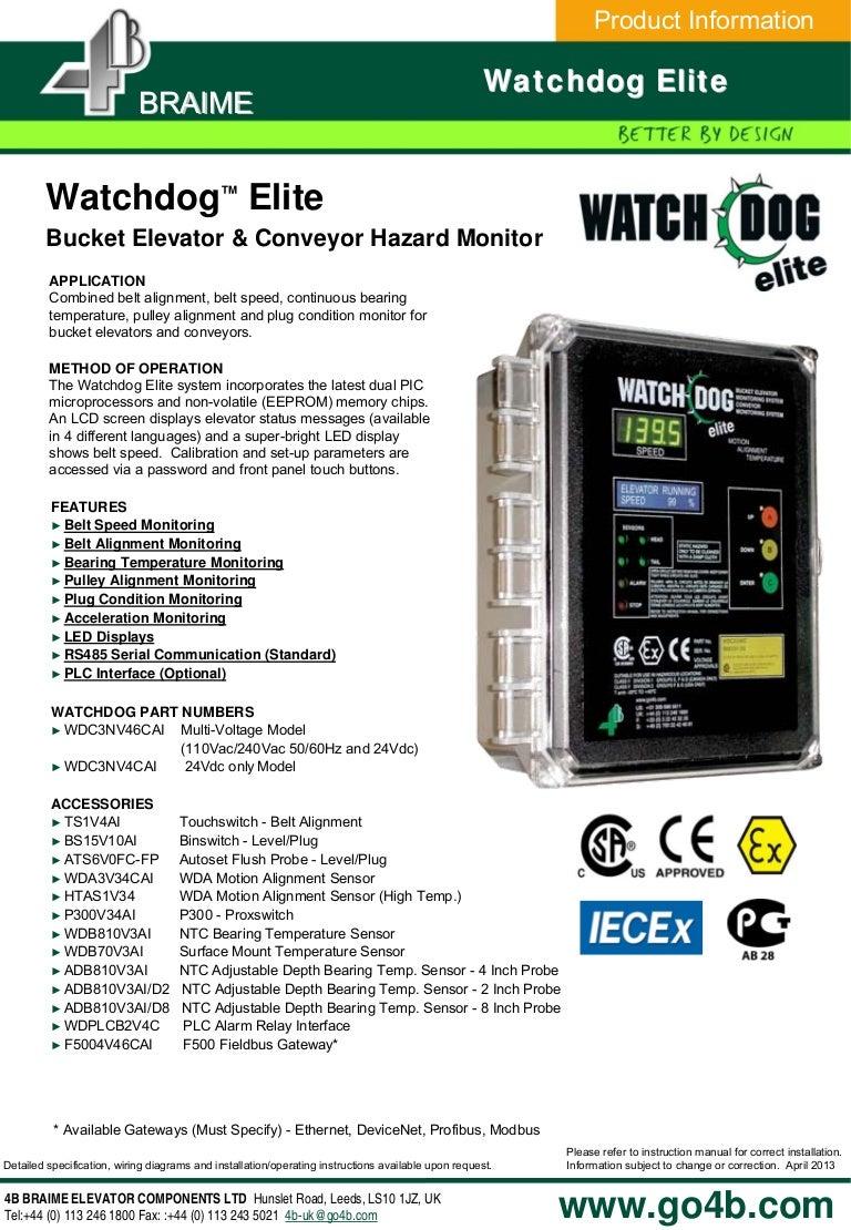 Watchdog Elite Bucket Elevator Conveyor Monitor Belt Wiring Diagram