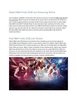 Watch NBA Finals 2018 Live Streaming Online