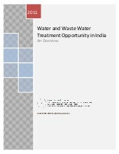 Water and waste water treatment opportunity in india