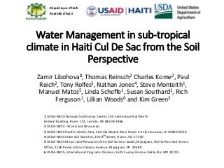 Water management in sub tropical climate in Haiti