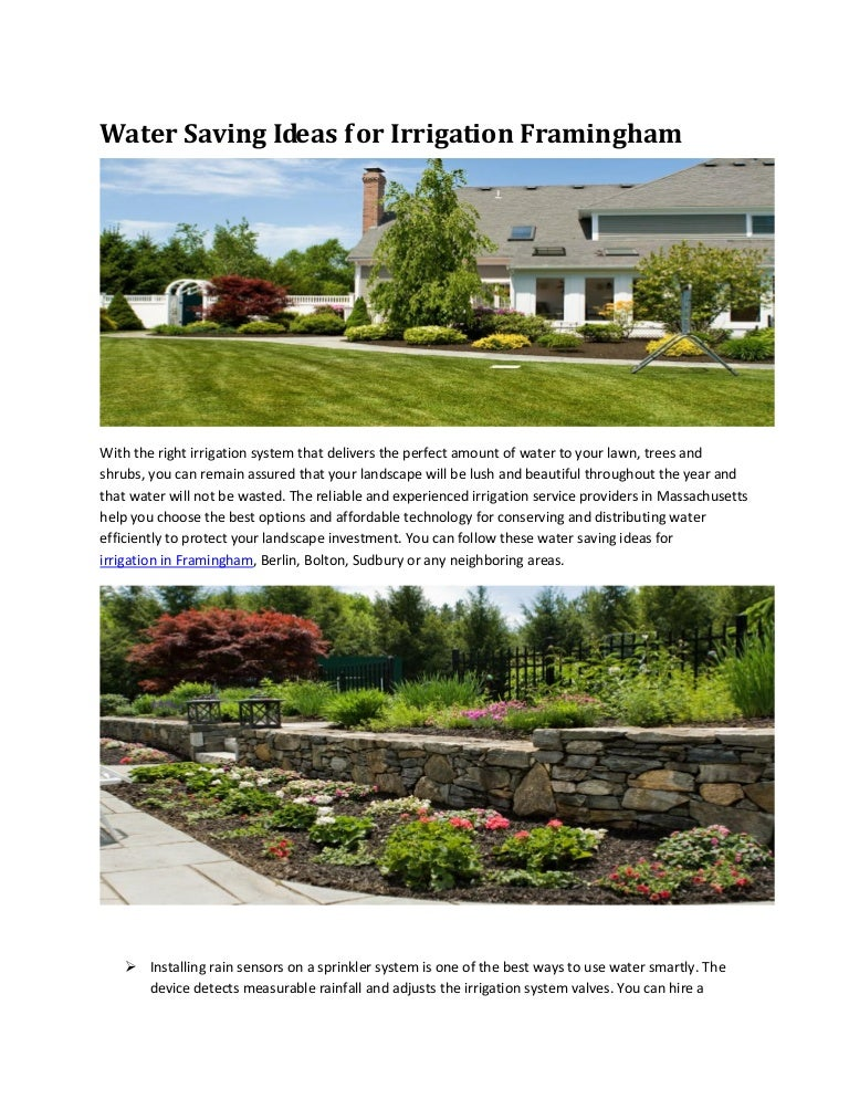 Water Saving Ideas For Irrigation Framingham