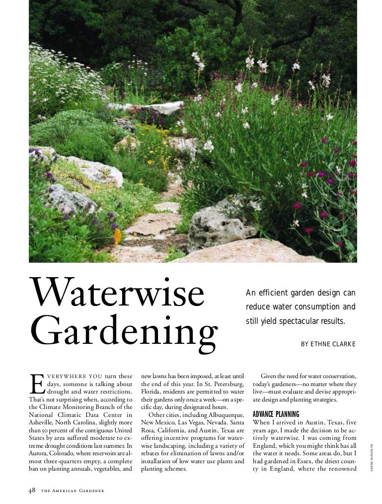 Waterwise Garden Design waterwise gardening: an efficient garden design can reduce water cons…