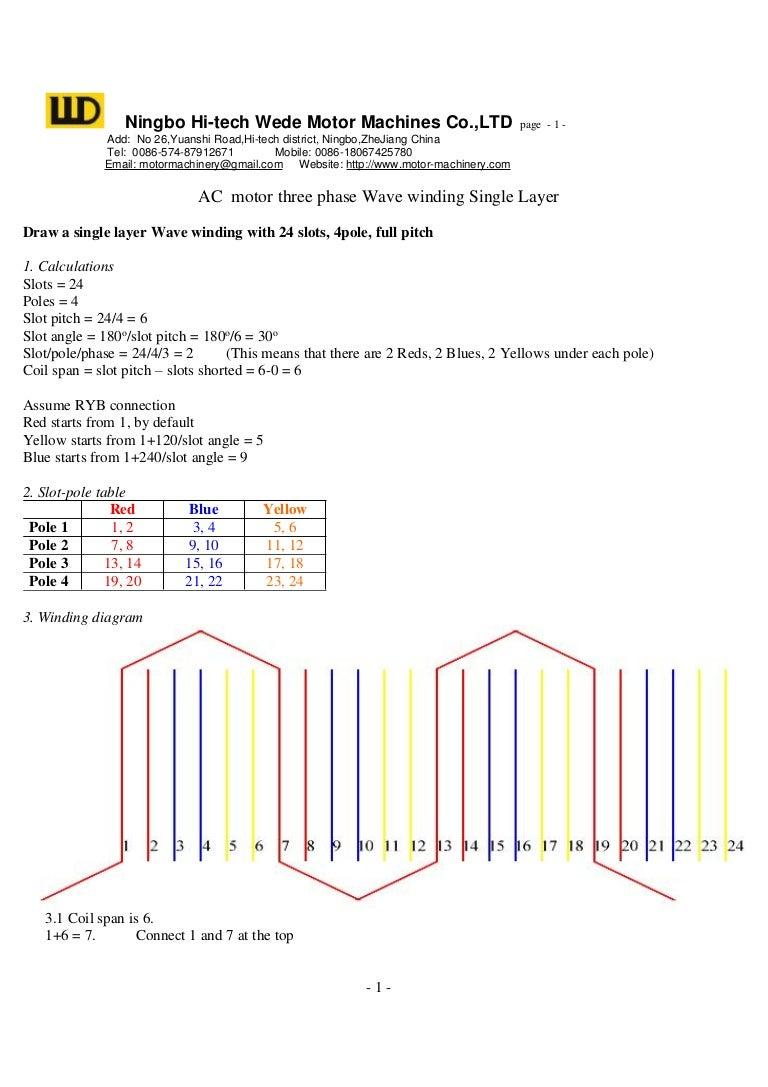 wave winding diagram example for electric motor rh slideshare net three phase motor winding diagram 3 phase stator winding diagram