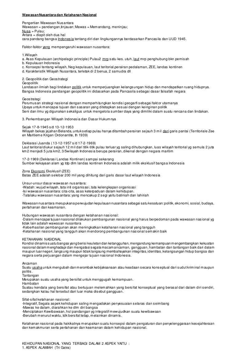 Wawasan Nusantara Dan Ketahanan Nasional