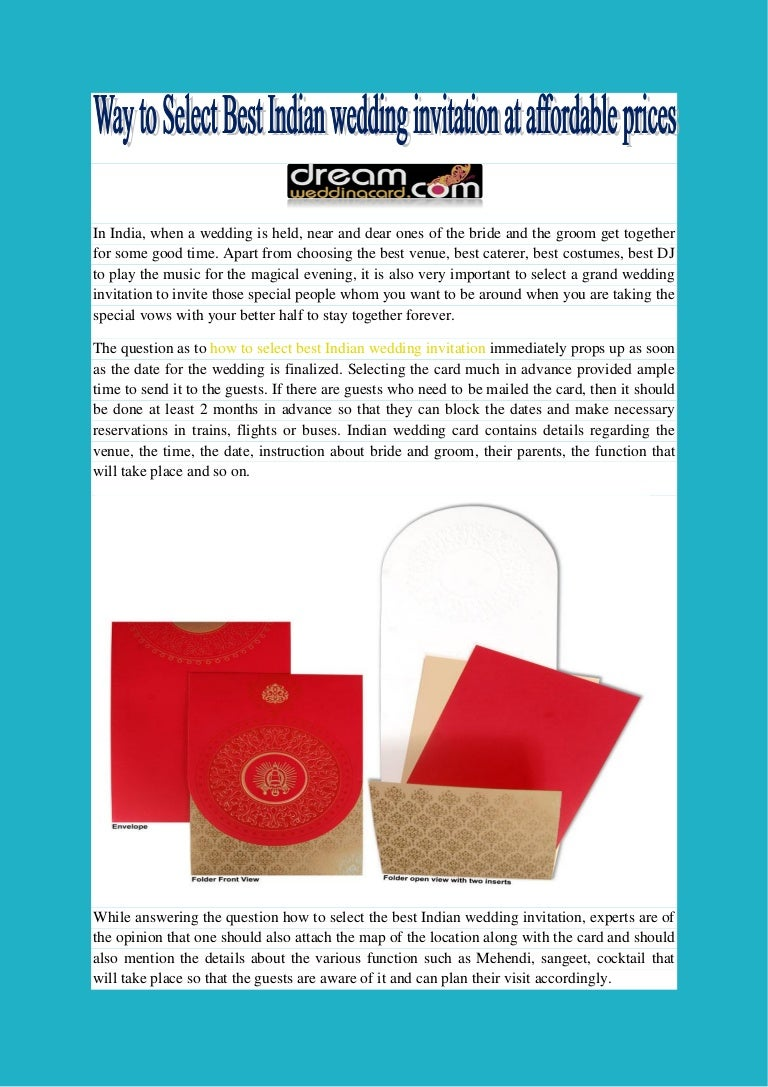 Way to select best indian wedding invitation at affordable prices