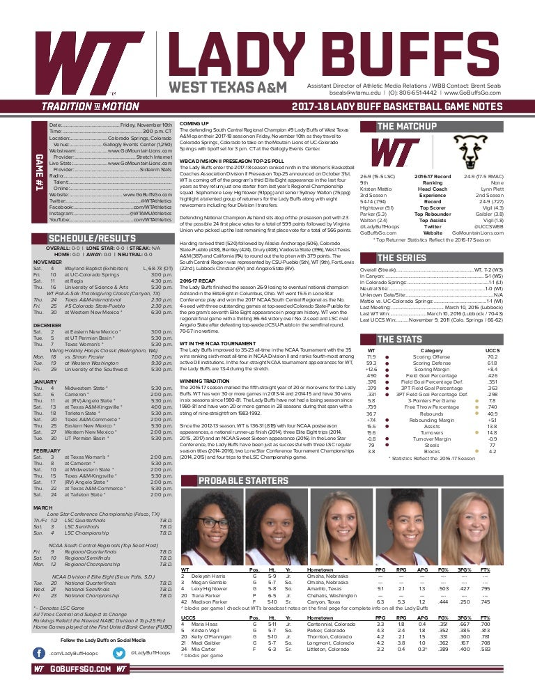 WT Basketball Game Notes (11-9-17)