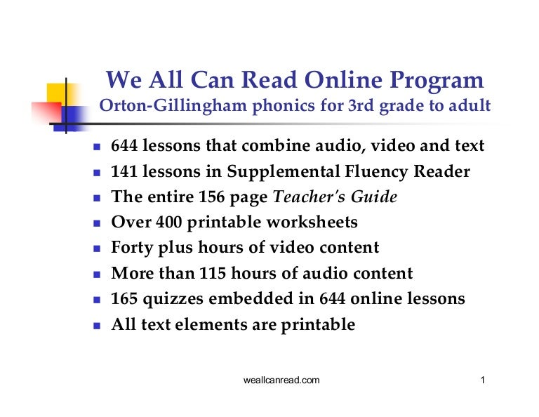 We All Can Read Online Phonics Program Overview – Phonics Worksheets for Adults