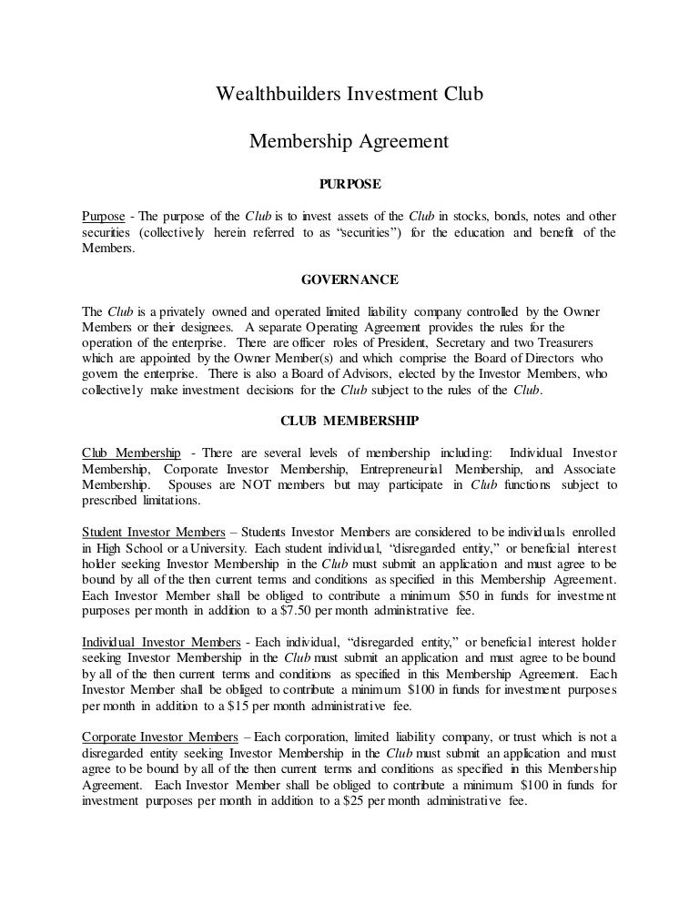 Investment Agreement. Investment Club Partnership Agreement Form ...