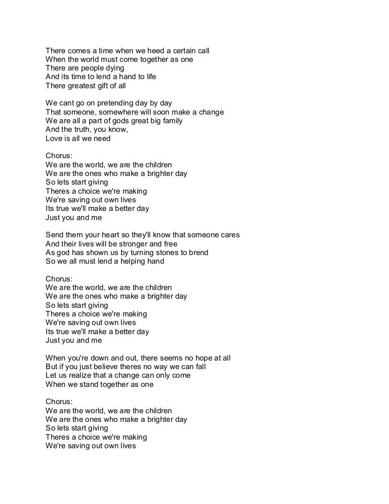 Lyric one day at a time lyrics : We are the world