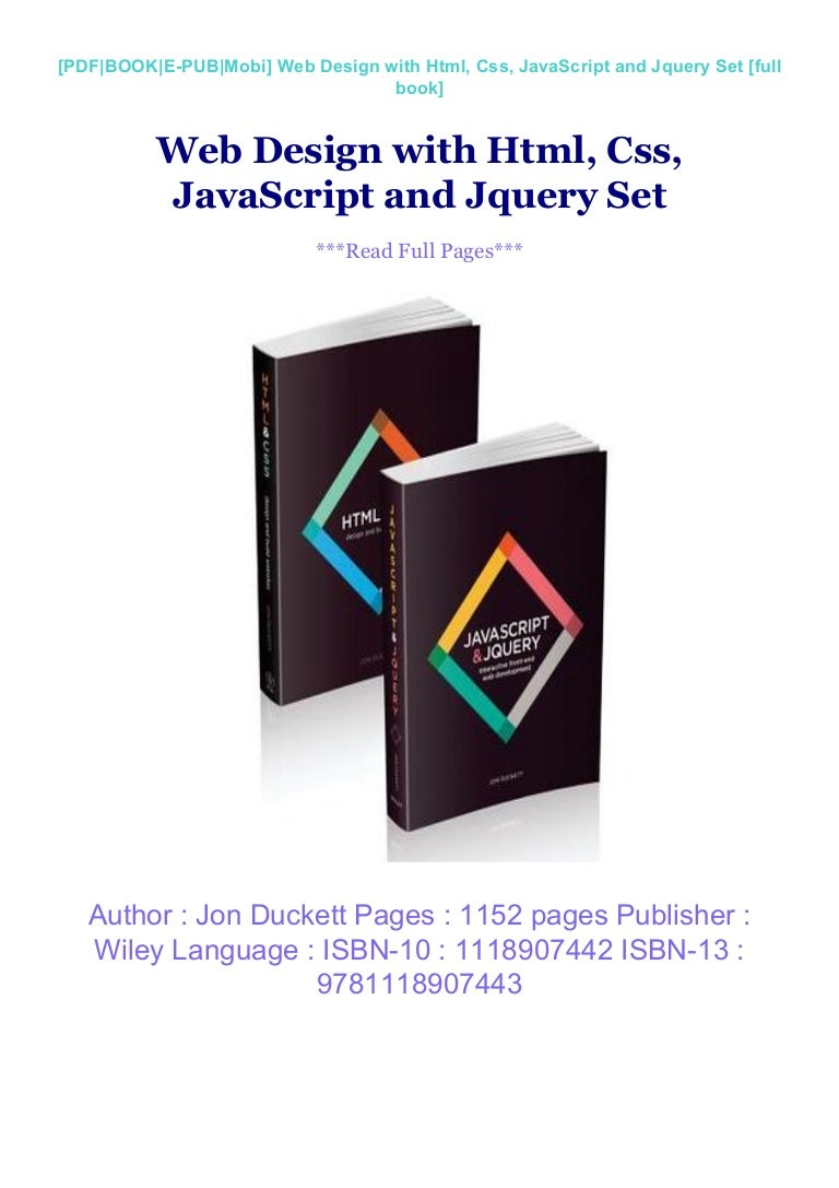 Web Design With Html Css Javascript And Jquery Set Full Books