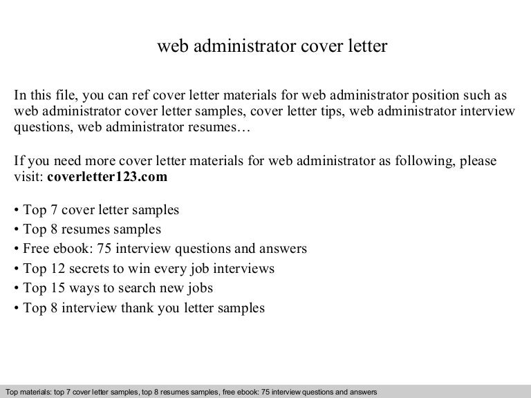 web administrator cover letter - Web Administrator Cover Letter