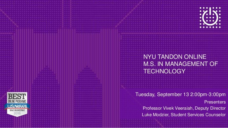 Online Ms In Management Of Technology At Nyu