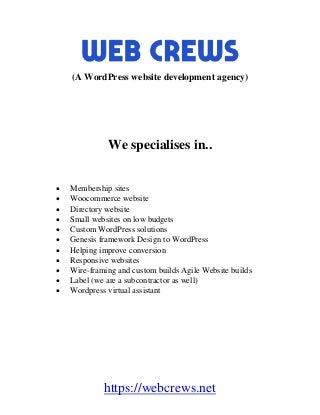 Web Crews - WordPress website development agency