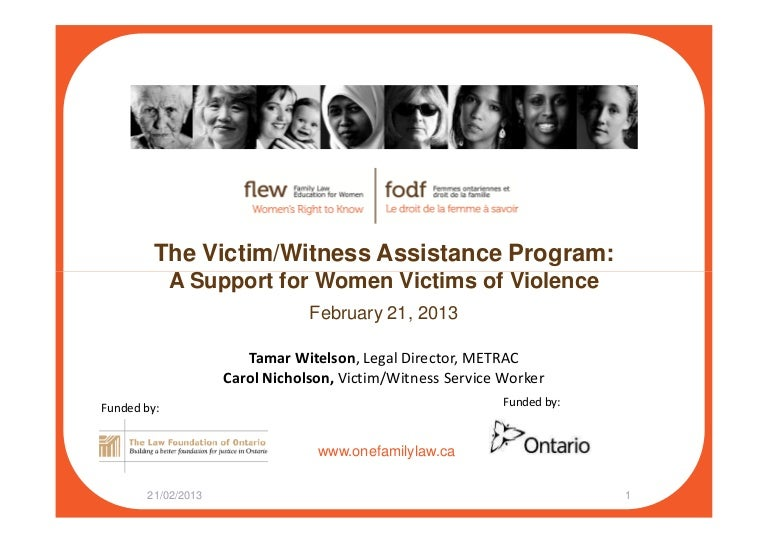 The Victim Witness Assistance Program A Support For Women Victims Of