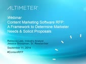 [Webinar] Content Marketing Software RFP, by Altimeter Group