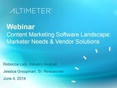 [Webinar] Content Marketing Vendor Landscape: Marketer Needs & Vendor Solutions by Rebecca Lieb