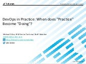 "DevOps in Practice - When Does ""Practice"" Become ""Doing"""