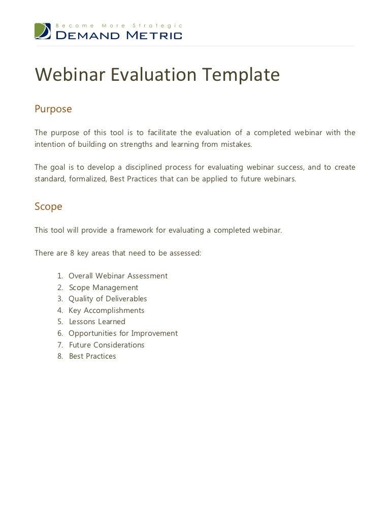 Webinar Evaluation Template