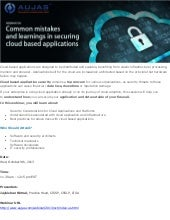 Webinar on Common Mistakes and Learnings in Securing Cloud Based Applications