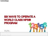 Six Ways to Operate a World Class NPS Program