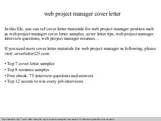 web project manager cover letter resume example resume cv cover letter - Web Project Manager Cover Letter