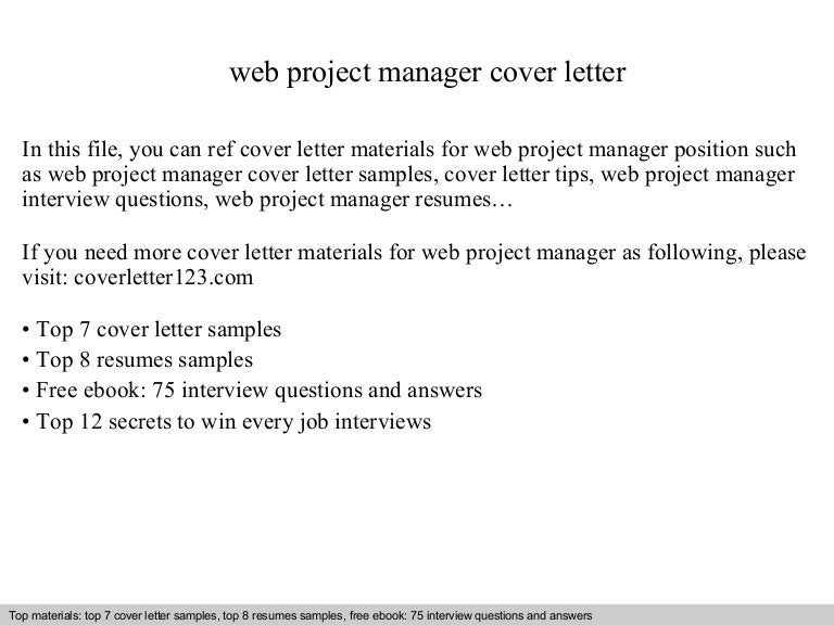 web project manager cover letter - Web Project Manager Cover Letter