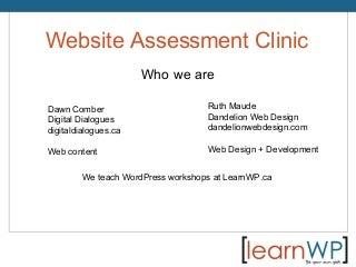WordCamp Toronto 2014 - Website Assessment Clinic