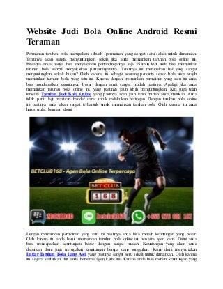 Website judi bola online android resmi teraman