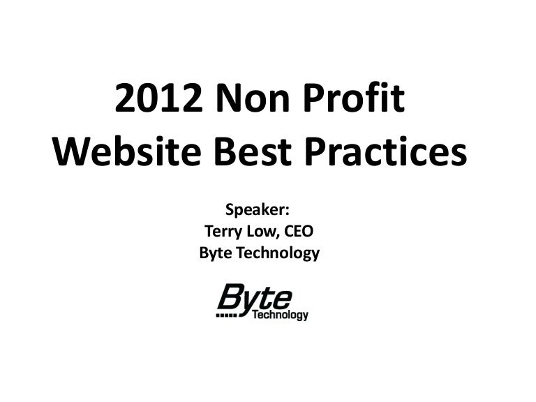 2012 Non Profit Website Best Practices