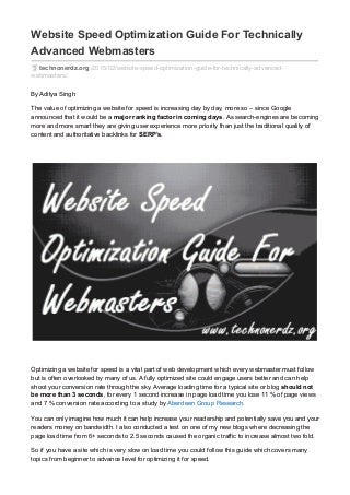 Website speed optimization guide for technically advanced webmasters