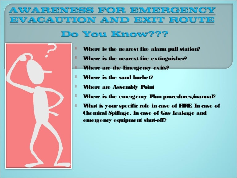 Emergency evacaution & exit route awareness training ppt by