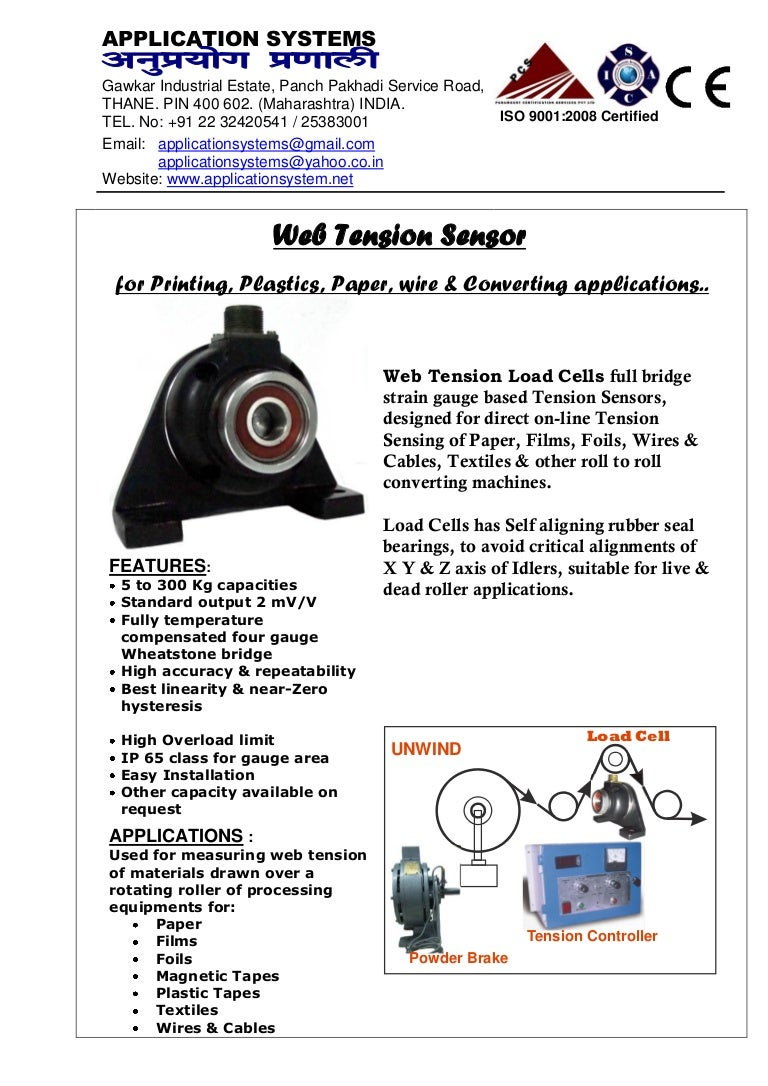 web tension sensor load cell