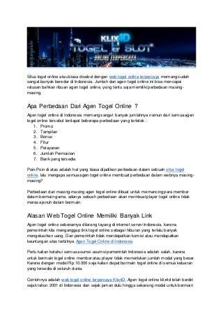 Web togel online terpercaya