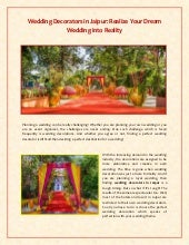 Realize Your Dream Wedding into Reality with Wedding Decorators in Jaipur