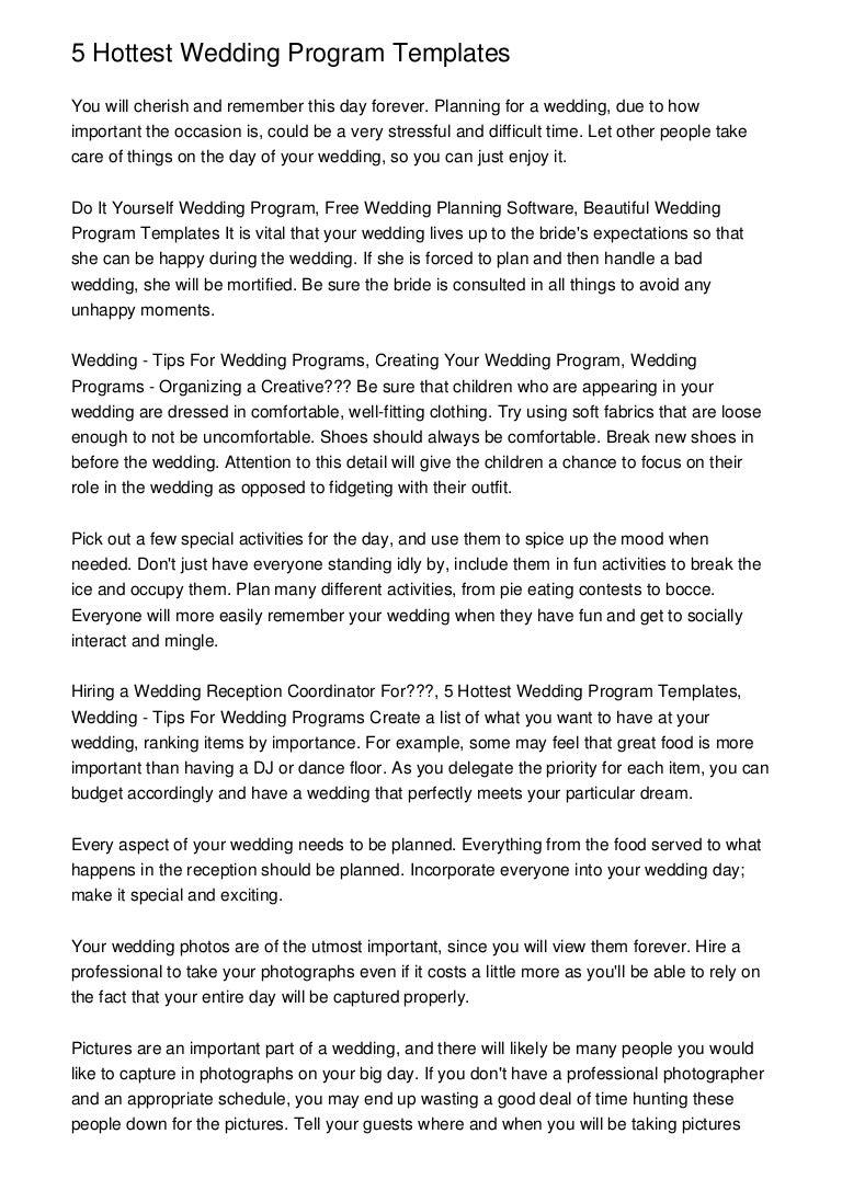 5 Hottest Wedding Program Templates