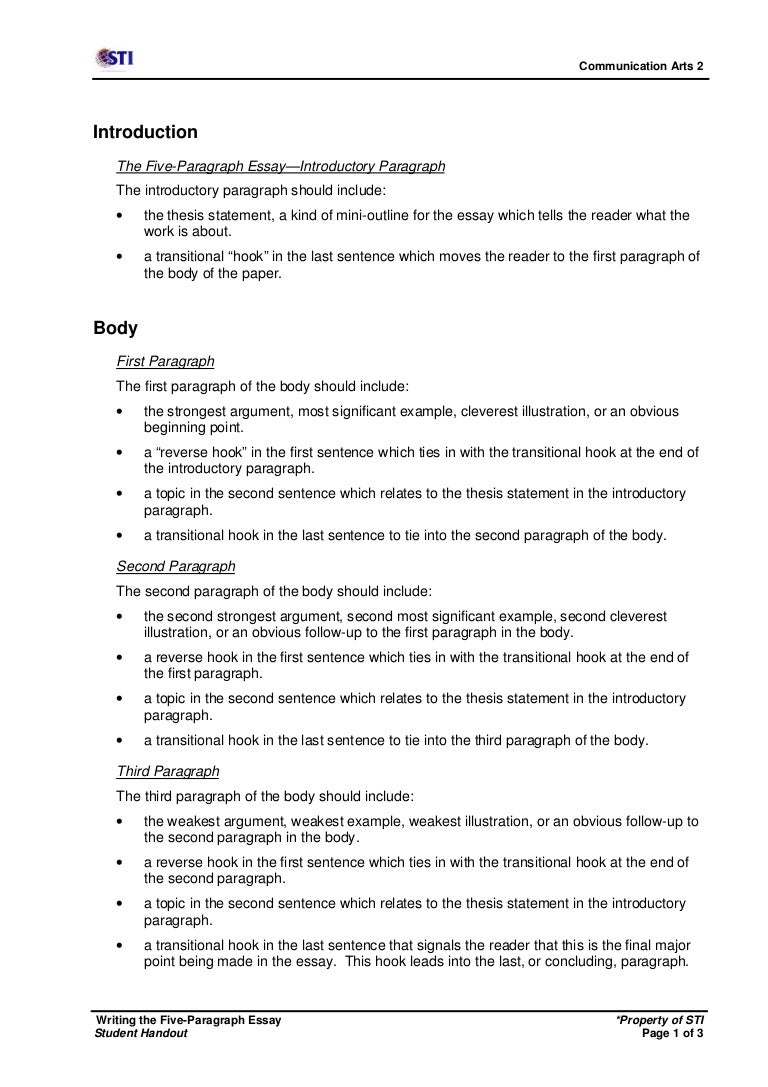 picture relating to Five Paragraph Essay Outline Printable referred to as creating the 5-paragraph essay (s.handout)