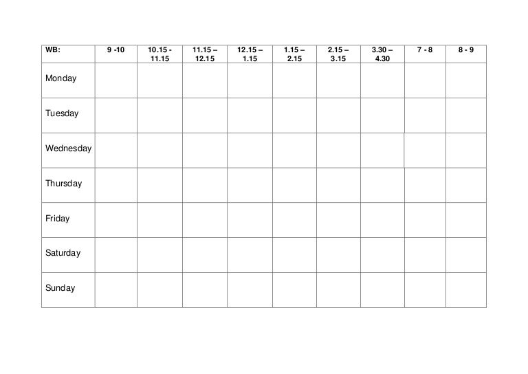 Revision Timetable Template - Text