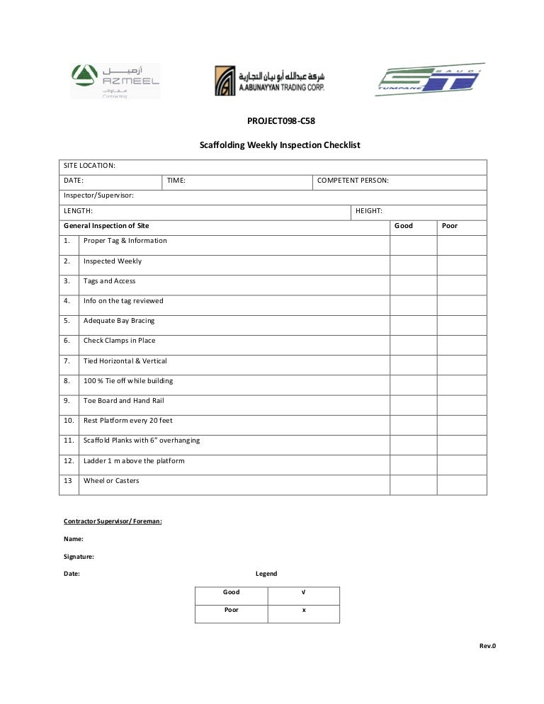 Scaffold Inspection Form Ibovnathandedecker